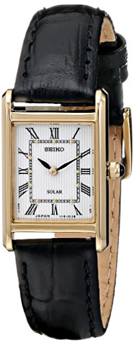 (Seiko Women's SUP250 Stainless Steel Watch with Black Band )