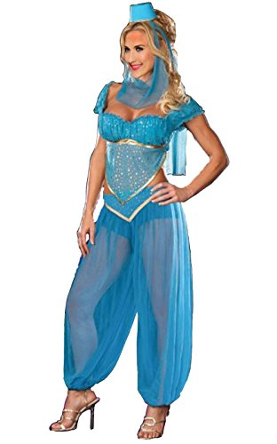 [JoJo beauty Blue Loose Sexy Adult Genie Rhoda Carpet Costume (L)] (Sexy Belly Dancer Costumes)