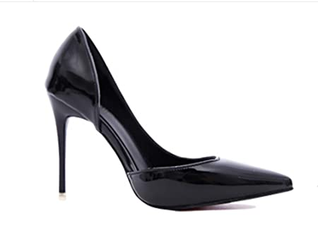 ZCH new female patent leather shallow mouth side empty low to help high heels fashion simple thin women's shoes with large size 40 , black [9cm] , 40