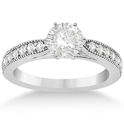 Cathedral Pave Set Antique Diamond Engagement Ring Setting in Palladium -