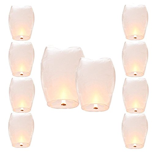 Shellvcase Wish Lanterns Sky, 10Pcs Fly Sky Wish Paper,Fully Assembled, 100% Biodegradable,New Designed Environmentally Fly Paper,Great for Birthdays, Holidays, Weddings, Memorials, 4th of (Paper Sky Lanterns)