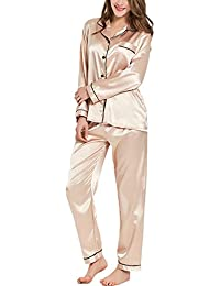 Womens Silk Satin Pajamas Long Sleeve Loungewear Two-Piece Sleepwear Button-Down Pj Set