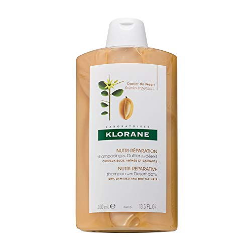 Klorane Shampoo with Desert Date, Repair Dry, Damaged Hair & Split Ends, Ultra-Hydrating, Biodegradable, 13.5 oz.
