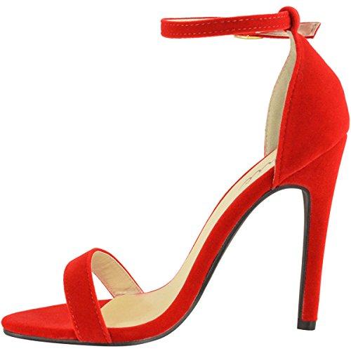 Mode Törstiga Kvinnor Strappy Stilett Hög Klack Sandaler Ankelbandet Manschetten Peep Toe Skostorlek Röd Faux Mocka