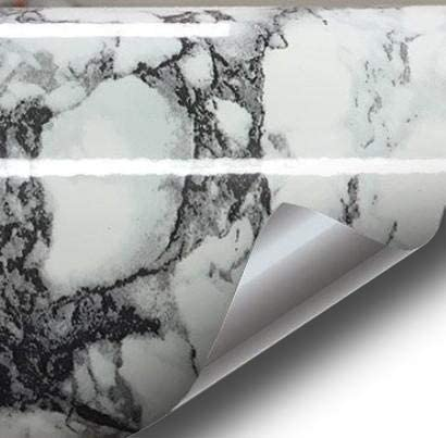 Black White Veined Marble Gloss Vinyl Architectural Wrap For Home Office Furniture Wallpaper Tile Sheet 24 Inches X 65ft Roll 24 Inches X 65ft
