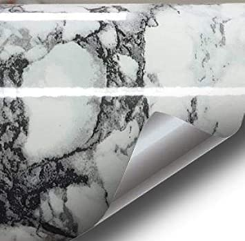 1 Roll Pack VViViD High Gloss Realistic Finish Black Marble White Veined Architectural Vinyl Wrap 16 x 78 Roll