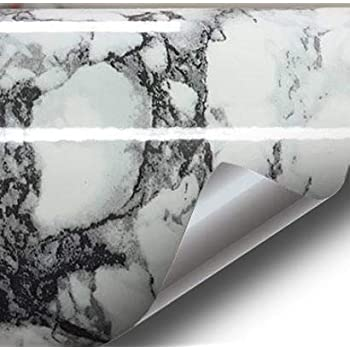 Black White Veined Marble Gloss Vinyl Architectural Wrap