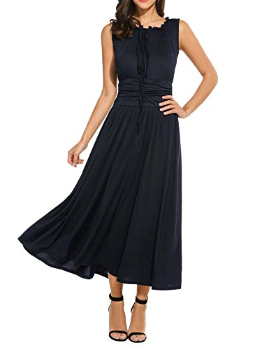 Meaneor Women's Empire Waist Maxi Dress Sleeveless Renaissance Party Long Dress Navy Blue XXL (Simple Renaissance Dress Patterns)