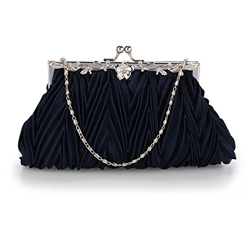 Size Clutch 1 With For Designer Chain Large Purse Bridesmaid Bag Diamante Wedding Satin Design New Navy Flower OOw1Rfqx