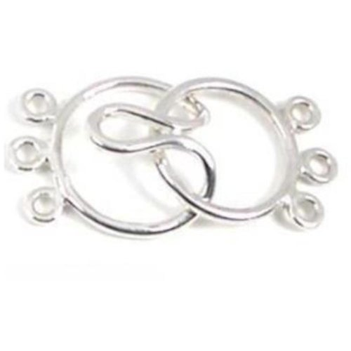 (Clasp Fold Over Sterling Silver Necklace 3-Strand)