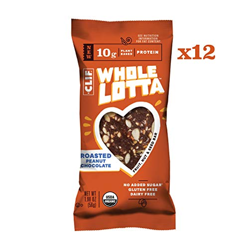 Clif Whole Lotta – Roasted Peanut Chocolate – Organic Protein Bars, Fruit & Nut & Seed Bars – Gluten Free & Vegan Snacks (1.98 Ounce Protein Bars, 12 Count)