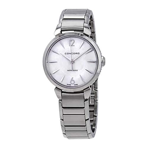 Concord Quartz Wrist Watch - Concord Impresario Womens Stainless Steel Swiss Quartz Watch - 32mm Mother of Pearl Dial and Sapphire Crystal - Swiss Made Classic Analog Ladies Dress Watch 0320313