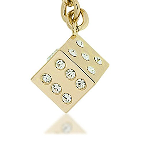 KALIFANO White Dice with Gold Keychain made with Swarovski Crystals
