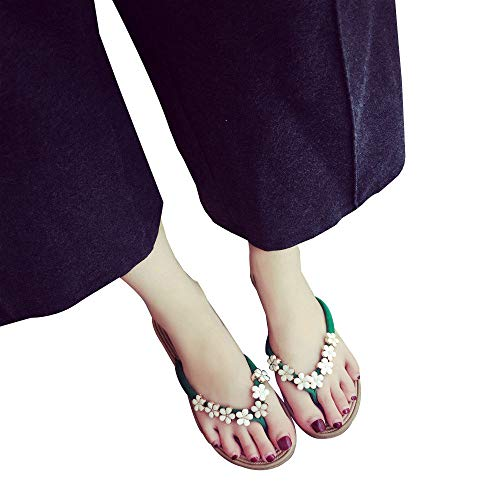 Mode Fond Chaussures Pantoufles La Plat Sandales À Femme Pour Unie Fleur De Été Vert Talons Plage Darringls Couleur Bascule v6qd4d