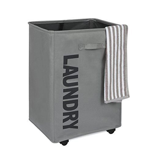 WOWLIVE Large Collapsible Rolling Laundry Hamper Foldable Rectangular Tall Laundry Basket With Wheels Waterproof Standing Corner Home Laundry Hamper Organizer (Gray)
