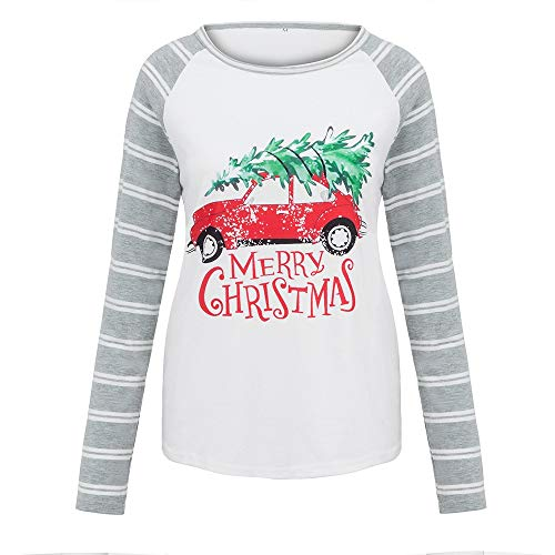 Clearance Sale ! Long Sleeve Blouse,Women Fall Plus Size Merry Christmas Print Splicing Top T-Shirt