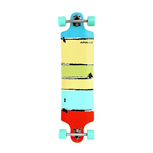 Apollo Twin-Tip Topmount Longboard, Maui Colour, ABEC Kugellagern, Twin-Tip Freeride Skaten Cruiser Board