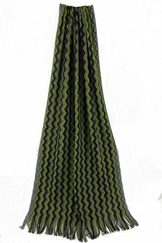 Scarf, striped, green black multicolor, 100% wool (Merino) ()