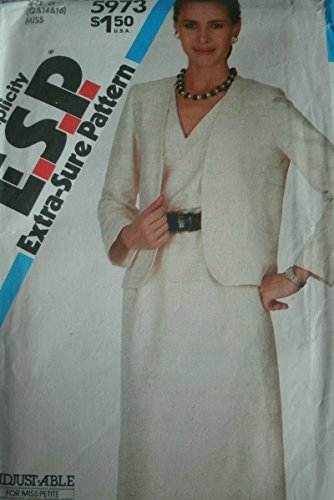 Misses Miss Petite Dress and Unlined Jacket Size 12-14-16 Vintage Simplicity Extra-sure Pattern 5973 Easy to Sew Adjust-able ()