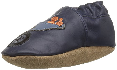 Robeez Boys' Elephant Eddie Crib Shoe, Big Dig Navy, 6-12 Months M US Infant (Applique Baby Booties)