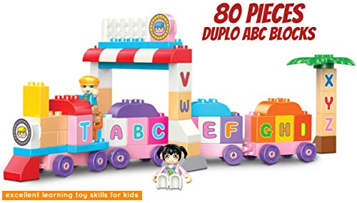- pizety Duplo Blocks ABC Learning Train Building Blocks Set Alphabet Train Early Educational Preschool Toy Kids, Toddlers, Boys, Girls Birthday Compatible Duplo (80 Pieces, Learning Alphabet Train)