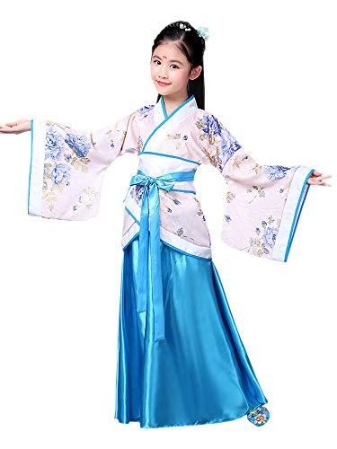 Zevonda Style Chinois Joli Défilé De Mode Robe De Princesse Hanfu Vêtements Bleu