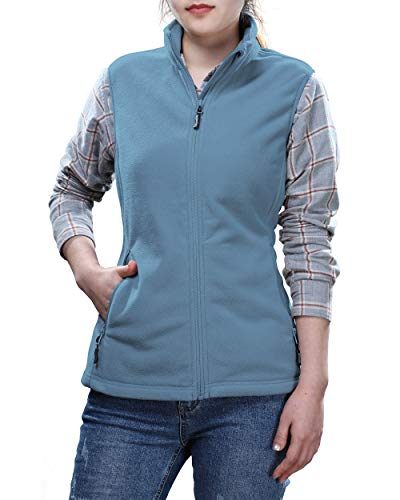 Outdoor Ventures Women's Zip Up Sleeveless Jacket Thick Soft Warm Fall Fleece Vest with 4 Large Pockets Grayish Blue