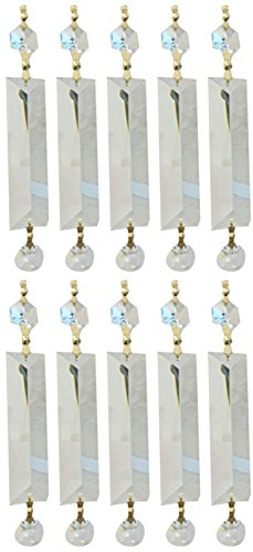 Royal Designs Replacement Chandelier Clear Crystal Prism K9 Quality Long Pyramid Cut and Hanging Bead Prism with Polished Brass Connectors and an extra Octogan Crystal Bead Pack of 10