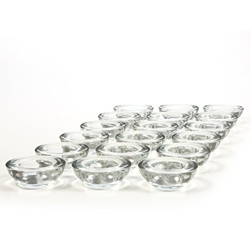 Hosley Set of 18 CLEAR Glass LED Tea Light Holders - 3'' Diameter. Ideal Gift for Weddings, Party, Spa, Reiki, Meditation, Votive Candle Gardens. O3 by Hosley (Image #6)