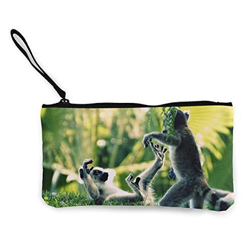 Oomato Canvas Coin Purse Lemur Leaves Cosmetic Makeup Storage Wallet Clutch Purse Pencil -