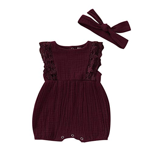 Infant Baby Girls Lace Sleeveless Romper Jumpsuit Linen Bodysuit Outfit +Headband Newborn Onsie Princess Summer Clothes ()
