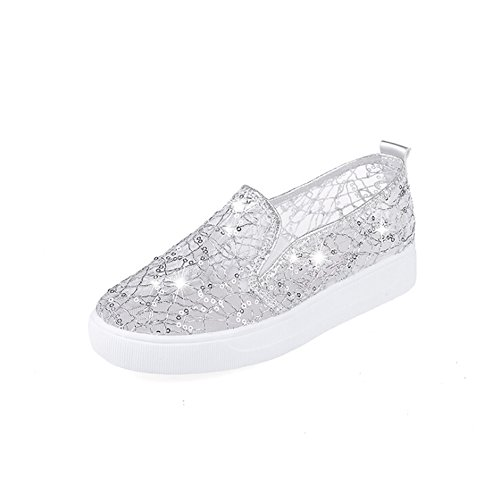 Angelliu Womens Fancy Round Toe Summer Hollow Sequins Mesh Slip On Flats Sandals Silver