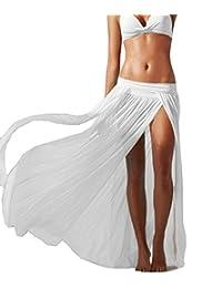 REPHYLLIS Women's Solid Flowy Split Beach Cover ups Long Maxi Skirt Dress