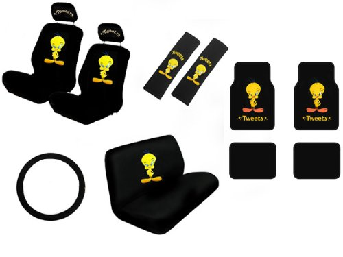 tweety bird full auto interior gift set car seat covers floor mats w 5 head rest fitness. Black Bedroom Furniture Sets. Home Design Ideas
