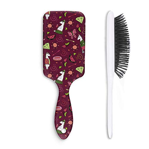 Wet And Dry Red wine unicorn Doughnut football soccer Beauty Professional Detangle Hair Brush For Women And Men Grooming Styling & Shaping