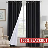 H.VERSAILTEX 100% Blackout Curtains with White Backing Energy Saving Soundproof Thick Curtain Panels Thermal Insulated Blackout Curtains Drapes for Bedroom/Living Room 96 Length (1 Pair, Black)