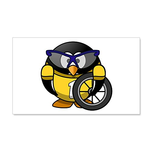 35 x 21 Wall Vinyl Sticker Little Round Penguin - Cyclist in Yellow Jersey