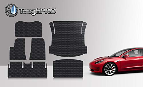 ToughPRO Floor Mats Compatible with Tesla Model 3 - All Weather - Heavy Duty - (Made in USA) - Black Rubber - Mar 2019 - Aug 2019 (Complete Set)