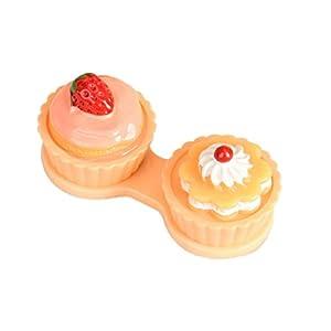 Lookatool Cute Cartoon Cake Cream Shape Contact Lens Case Box Set Holder (Yellow)