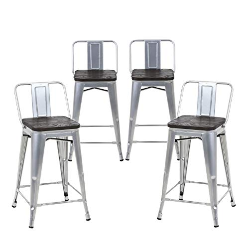 Buschman Set of 4 Grey Wooden Seat 24 Inches Counter Height Metal Bar Stools Medium Back, Indoor/Outdoor