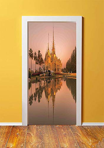 Home Decor 3D Door Sticker Wall Decals Mural Wallpaper,Monumental Temple at Twilight Time with Palm Trees and Lake Zen Japanese Sky Decor Home,DIY Art Home Decor Poster Decoration 30.3x78.6511,Multi