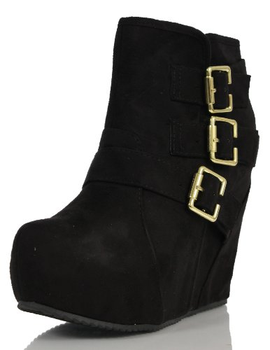 Soda Women's Besso Faux Suede Triple Buckle Platform Wedge Ankle Bootie Boot, Black, 65 M US (Wedge Bootie Suede)