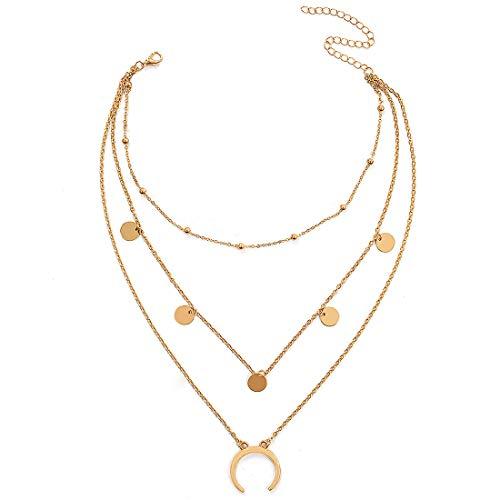 Wowanoo Layered Chain Choker Necklace Moon Sequins Pendant Chain Jewelry for Girls Women GoldS