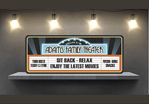 Personalized Home Theater Sign with Classic Cinema Marquee Design & Your Family Names - Movie Theater Decor & Home Cinema Wall Art - Fun Sign Factory Original ()