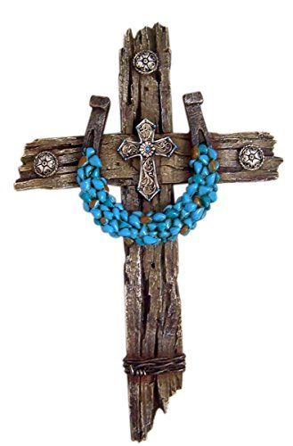 Rustic Wood Look Resin Wall Cross with Turquoise Accent Horseshoe, 12 1/2 - Cross Wall Resin