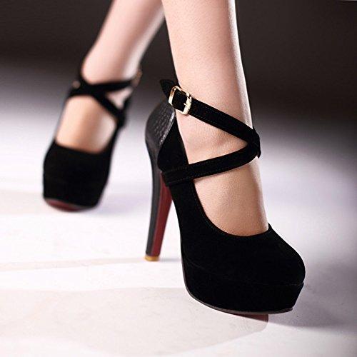 Aisun Femmes Plate-forme Cool Sexy Épissage Croix Sangle Robe Pompes Chaussures Noir