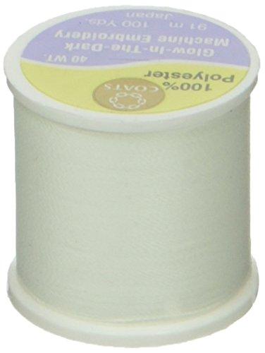 Coats & Clark D86-01 Glow in The Dark Machine Embroidery Thread, 100-Yard, White -