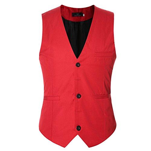 Casual Hiver Costume Manche Gilet Fit Multicolore Slim Automne Sans Homme Business Rouge Veste Elégant De U00gpq8S