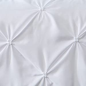 Great Bay Home Signature Pinch Pleated Pintuck Duvet Cover with Button Closure. Luxuriously Soft 100% Brushed Microfiber with Textured Pintuck Pleats and Corner Ties (Full/Queen, White)