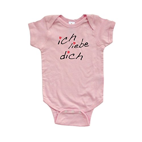 Apericots Ich Liebe Dich (German for I Love You) Cute Infant Valentine's Day Bodysuit (6 Months, Light Pink) - German Baby Clothes